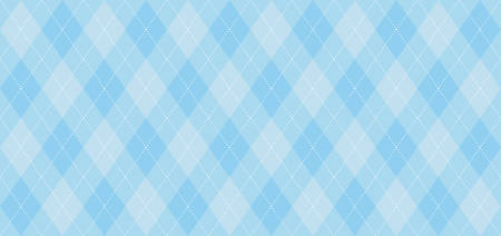 Argyle vector pattern. Light blue with thin white dotted line. Seamless geometric background, textile, men's clothing, wrapping paper. Backdrop for Little Man (baby boy) party invite card