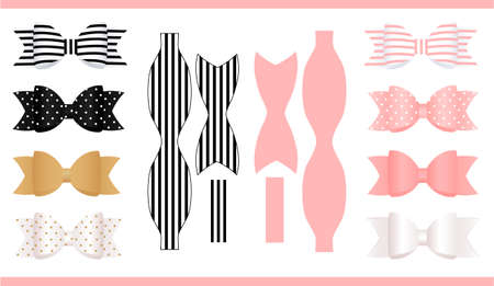 Ensemble d'arcs en papier réalistes, rose, or, blanc et noir. Imprimer et découper. Modèle d'arc d'artisanat classique. Peut être utilisé pour les coffrets cadeaux de décoration, les cartes, les invitations. Pour baby shower, fête d'anniversaire.