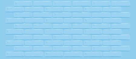 Blue brick wall vector texture.Cracked empty background. Grunge sweet wallpaper. Vintage stonewall. Room baby boy design interior. Prince surface for decoration. Backdrop for man's party. Banner blank