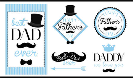 Set of vector design label (badge, sticker, frame) templates. Text: Best dad ever. Happy fathers day. We love you daddy. Black, blue, white - classic vintage style. Man birthday mustache hipster party