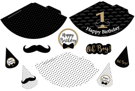 Little man printable hats. Black, white, golden mustache pattern. Print and cut. Vector cones template for a party (birthday, baby shower, it is a boy). Vintage modern style. First happy birth