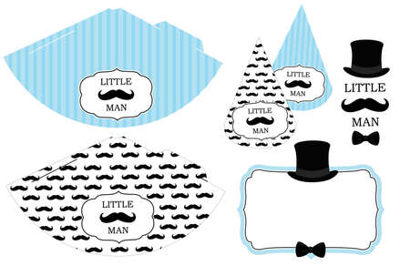 Little man's printable hats. Black and white mustache pattern. Print and cut. Birthday party (birthday, baby shower, it is a boy). Vintage modern style. Illustration