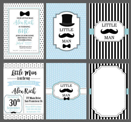 A set of blue, white and black templates for invitations. Little man vintage style. Frames for boy's photo