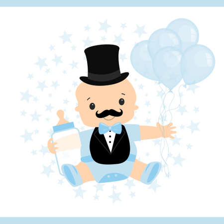 Vector illustration of a little baby. Little man's birthday invitation card. Mustache party. Boy in his hands