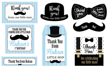 Little man birthday party (Baby shower party) tags. Thank you favor card. Vector bow tie and suspenders. Black, blue, white - classic pattern. Set of design label (badge, sticker, frame) templates