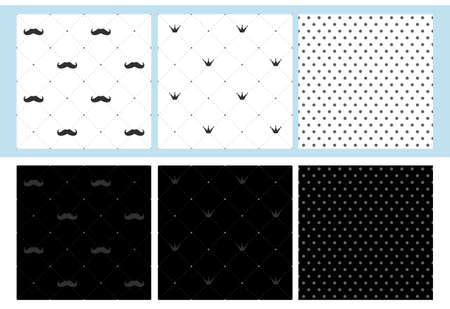 Set of 6 seamless patterns with mustache, crown and dots. Little man print party decoration. Wrap a father's gift. Dark and light classic fabric. Royal design for king / prince birth. Stag party invite