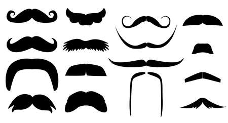 Vector vintage set of variants of fake mustache. Photo props booth for a little man party. Black silhouette isolated on white background. Illustration for laser cutting
