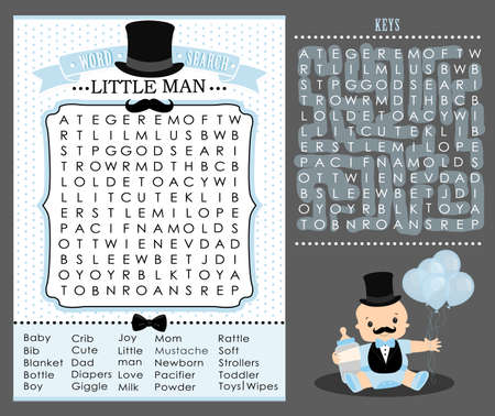 Little man party game (first birthday, baby shower) Word search puzzle. Cute blue and white vintage. Templates can be used for invitation card, photo frame, decoration banner. Vector printable mustache.