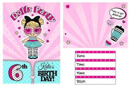 Pink card template for little girl. Girlish doll surprise style. Printable colorful invite. Place your text, picture, photo frame