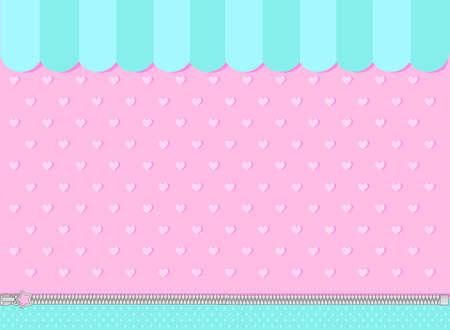 Fondo turquesa rosa y menta con corazoncitos. Escaparate de la tienda de dulces como telón de fondo.