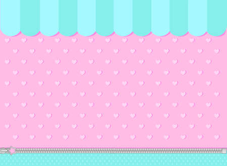 Pink and mint turquoise background with little hearts. Candy shop showcase backdrop.