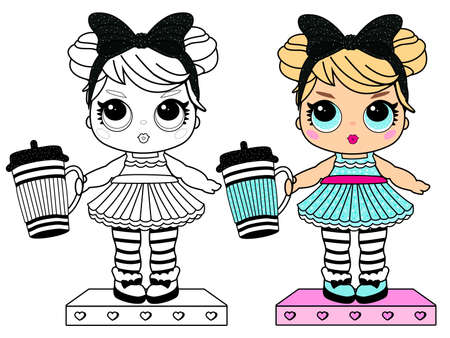 Coloring page book for little girl. Girlish doll surprise style. Printable colorful black and white painting. Blond with big blue eyes in dress