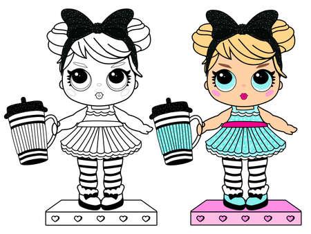Książka do kolorowania dla małej dziewczynki. Dziewczęcy styl niespodzianki dla lalek. Do druku kolorowy czarno-biały obraz. Blond z dużymi niebieskimi oczami w sukience