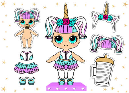 Cute vector doll in unicorn costume and colorful hair. Little golden horn on headband. Bottle of water. Summer kid illustration. Lol party halloween girlish faritable clothes