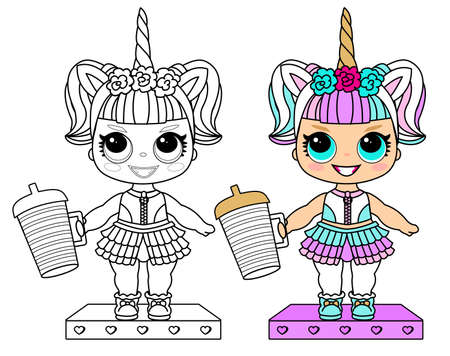 Cute vector doll in unicorn costume and colorful hair. Little golden horn on headband. Bottle of water. Summer kid illustration. Lol party halloween girlish faritable clothes Illustration