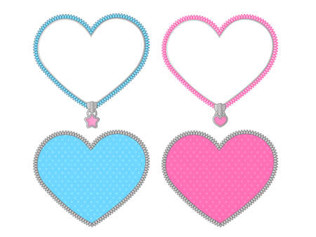Small cute heart on transparent background. Vector set of graphic elements for LOL doll surprise party style. Valentine's day card. Zipper frame and little star lock. Pink, blue, silver gray stickers Illustration