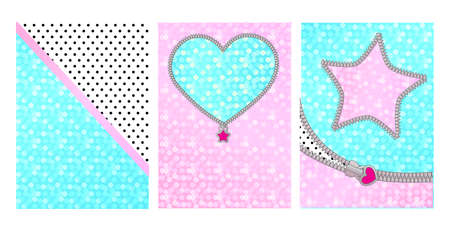 Mint pink color background with cute frame. Backdrop for kids party invitation in doll surprise style. Shiny glitter sparkles. Unzipped curved line, star, heart shaped border. Little zipper lock Vectores