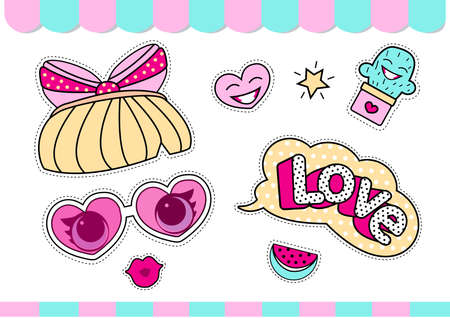Set of cute girlish vector stickers for surprise party. Dolls style element of design. Photo booth props. Doodle pink picture for kids daily book, scrapbook, notebook. Summer girl t-shirt