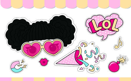 Set of cute girlish vector stickers for lol doll party. Element of design for invite card. Photo booth props. Doodle pink picture for kids daily book, scrapbook, notebook. Summer girl t-shirt