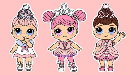 Nette vektorkleine Prinzessinnen in königlicher Luxuskleidung. .Geburtstagskostüme für kleine Mädchen in Pastellfarben. Lustiger Modestil