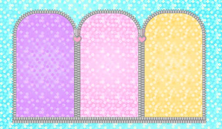 Set of unzipped semicircular frames. Doll's girly birthday backdrop photo booth zone. Turquoise green festive background with multicolored arched window. Glitter golden yellow, red pink, purple lilac Illustration