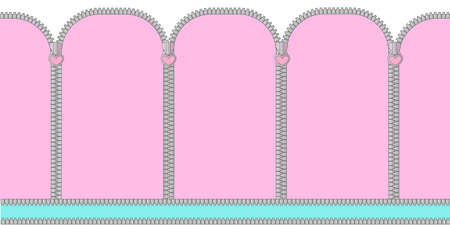 Pink and mint turquoise seamless background with arched window. Candy shop showcase backdrop. Decoration banner themed lol doll Princess girlish photo booth zone. Baby shower gender reveal. Zipper