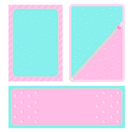 Set of vector background with hearts and dots for invitation card. Candy shop showcase frame. Pink, turquoise backdrop for gender reveal, baby shower, little princess birthday lol party. Girlish style Illustration