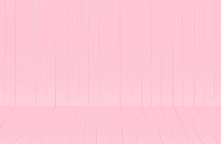 Soft pink wooden texture background. Little baby, girl, woman wallpaper. Realistic wooden 3d perspective planks. Nursery room. Interior sweet cafe. Old table board. Timber surface. Painted wall studio