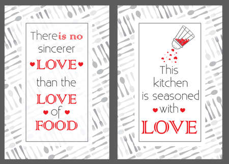 Food quote posters. This kitchen is seasoned with love. There is no sincerer love than the love of food. Mom's home food. Quote typography. Decorative christmas vintage banner BG. Cute holiday symbol Illustration