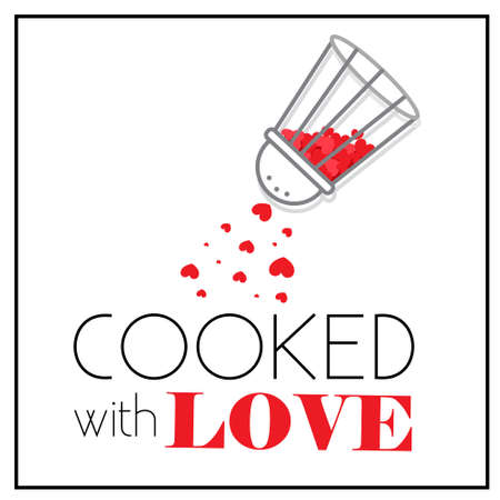 Cooked with love sticker. Pepper-box shaker with little red hearts. Seasoned of love. Poster for cafe, menu, interior of kitchen, home food delivery packaging template. Isolated on white bg.