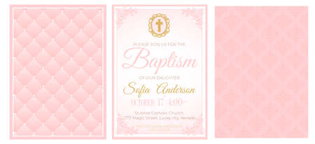Baptism cute pink invitation template card. Set of illustration for baby girl christening ceremony, communion or confirmation. Little princess birthday, baby shower background. Blush soft rose color Illustration