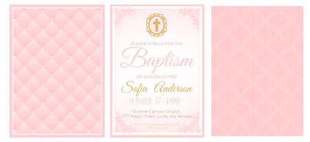 Taufe niedliche rosa Einladungskarte. Illustrationssatz für die Taufe, Kommunion oder Konfirmation des Babys. Geburtstag der kleinen Prinzessin, Babypartyhintergrund. Erröten Sie sanfte Rosenfarbe