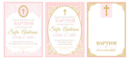A set of cute pink templates for Baptism invitations. Vintage rose lace frame with golden cross. Girl christening ceremony. A little princess party. Baby shower, wedding, girl birthday invite A5 card Illustration
