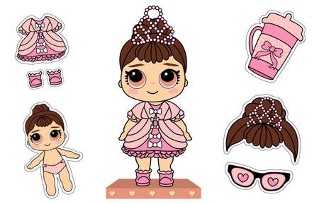 Cute vector little princess doll. Pink dress, white bows, glitter elegant pearl tiara. Surprised girl with brunette hair. Paper lol funny sticky cloth. Photo booth props: bottle, glasses heart eyes Illustration