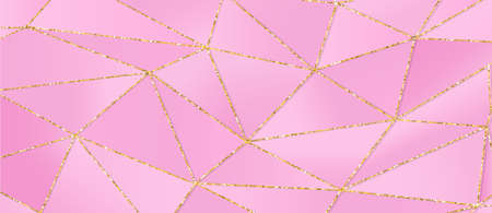 Light pink 3d triangular background with shiny golden glitters. Beautiful layout promo event party Illustration