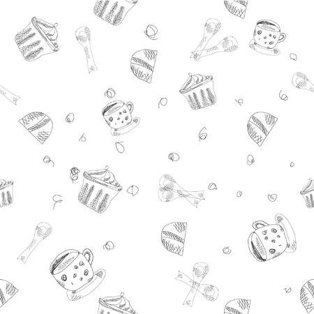 sketch pattern: Copa y pasteles en el patr�n de boceto
