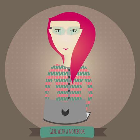 Vector EPS10 girl with laptop Illusztráció