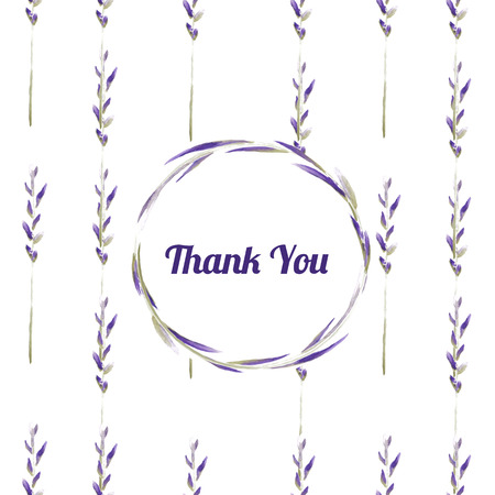 Vector floral watercolor background with lavender Vector