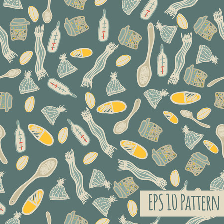 unicellular: Illness care seamless pattern in sketch style