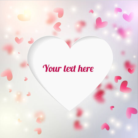 cuted: Vector background with blured hearts and lights. Cuted out place for text shaped heart.