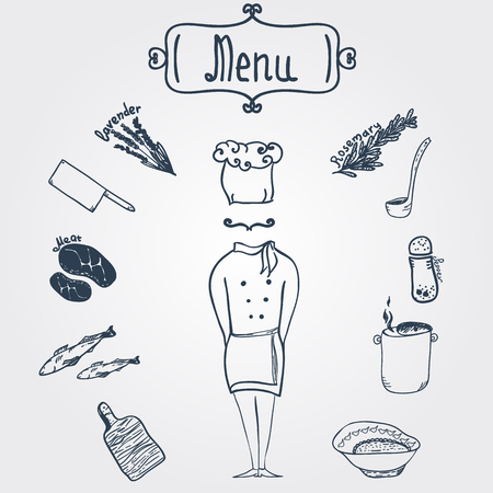 main course: Vector hand-drawn stylish chef with dishes and menu label