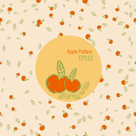 temperate: Vector seamless apple pattern in warm colors doodle style EPS10 Illustration