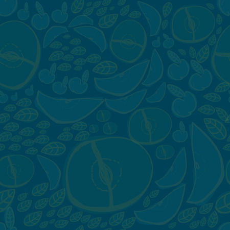 temperate: Vector modern apple fruit seamless pattern with dark background. Hand-drawn.
