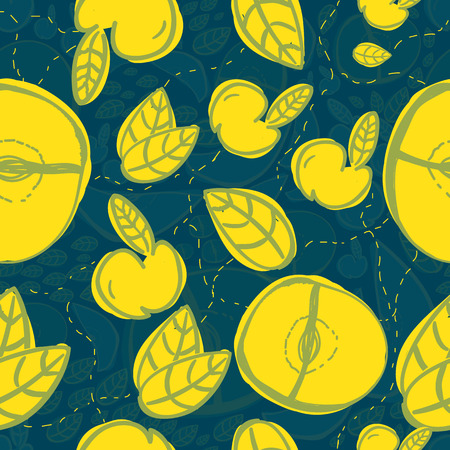 temperate: Vector modern apple fruit seamless pattern with yellow leaves. Hand-drawn