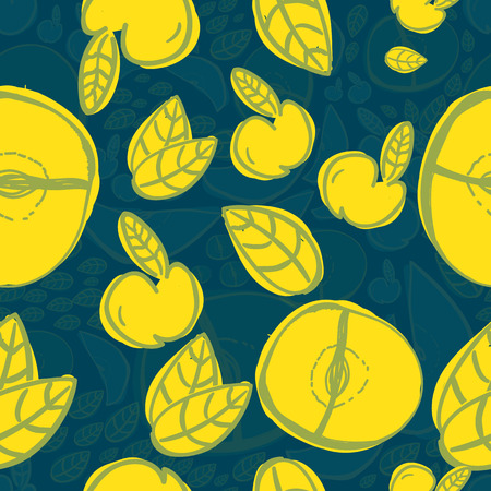 temperate: Vector modern apple fruit seamless pattern with yellow leaves. Hand-drawn.EPS10