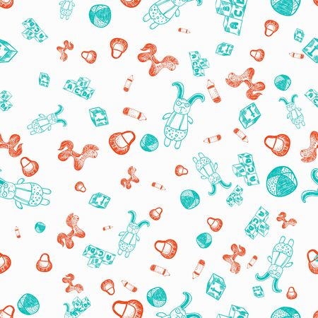 boyish: Vector seamless cute kid pattern with rabbit in glasses, toy horse, cubes and bib.