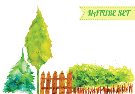 Vector watercolor set of green nature objects - trees, fence and bush Ilustrace