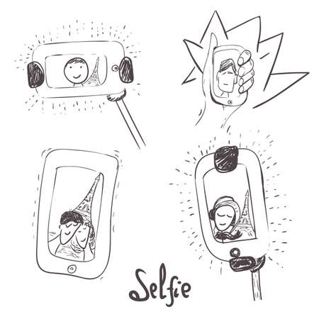 man holding transparent: Vector hand-drawn set of selfie with people in romantic place with