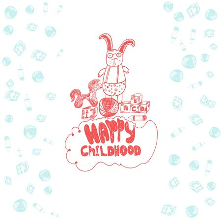 boyish: Vector childish banner with rabbit in glasses, horse, bib, ball and cubes in doodle style. Illustration