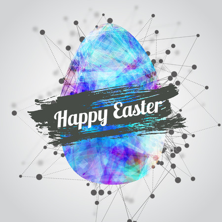 Vector modern happy easter card design with bright eggs and watercolor splash with lettering. Technological style. EPS10.